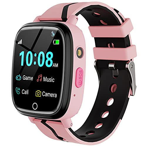 Kids Smart Watch for Boys Girls - Kids Smartwatch with Call 7 Games Music Player Camera SOS Alarm Clock Calculator 12/24 hr Touch Screen Children Wrist Watch for Kids Age 4-12 Birthday Gifts (Pink)