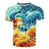 Udol Patrón Personalizado Impresión 3DT Camisa 3D Casual Estilo de Verano Impresión de Moda Camiseta de Manga Corta Camisa para Hombre Paño de Calle Ropa de Hombre j0326 (Color : 14, Size : X-Large)