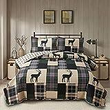 Rustic Deer Bedding Summer Patchwork Plaid Quilts Set...