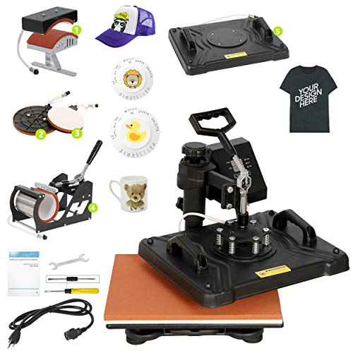 "Smartxchoices Pro 5 in 1 Heat Press Machine Combo 360-degree Rotation 12"" x 15"" Swing Away Digital Sublimation Heat Transfer Machine for T-Shirts Hat Mug Plate Cap Sports Bottle"