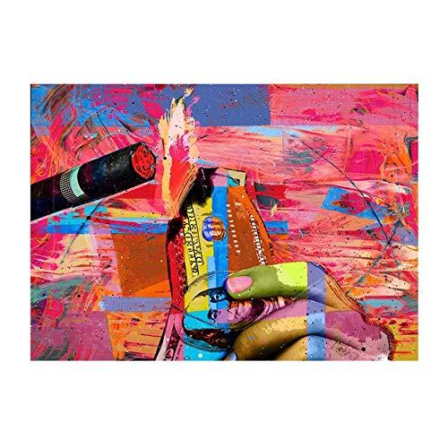 JLFDHR Pintalabios Abstracto Cigarrillo Pintura Decorativa Entrada Dormitorio Pintura Arte Carteles Impresiones decoración del hogar-60x80cmx1 sin Marco