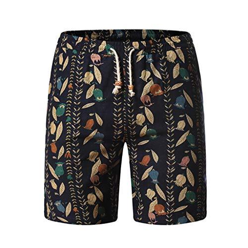 Aoogo Freizeithose für Herren,Leichte Hose,Seitentaschen,Große lockere Strandshorts Mode Freizeit Flachs Größe lose Gürtel Strand Shorts