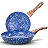 MICHELANGELO Nonstick Frying Pans, Granite Frying Pans with Stone-Derived Coating, Stone Fry...
