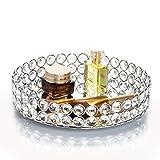 Feyarl - Vassoio per cosmetici con perline di cristallo, Organiser decorativo, colore: arg...
