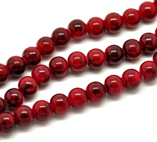 SiAura Material ® - 1 fil de perles en verre rouge noir diamètre 8 mm, env. 105 pièces