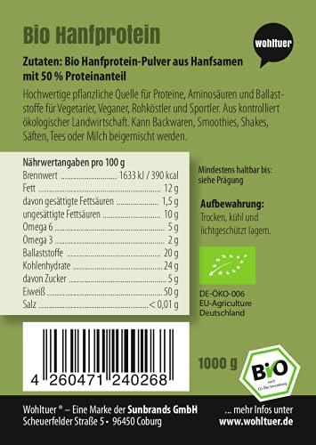 Wohltuer Bio Hanfprotein   Glutenfrei, Cholesterinfrei, Nährstoffreich   Low Carb Food   Vegetarisch und Vegan   vielseitiges Lebensmittel in geprüfter Bio-Qualität (1000g) - 3