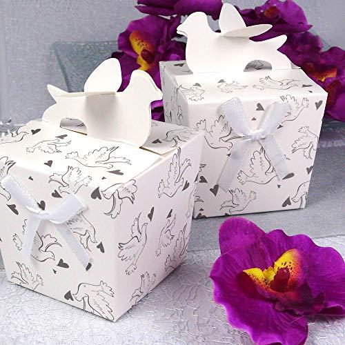 Einssein 12x Caja de Regalo Boda Paloma Blanco Cajas Bonitas para cajitas Regalos Bombones Carton bolsitas Papel chuches Bodas Bautizo pequeñas pequeña recordatorios comunion Navidad Decorar