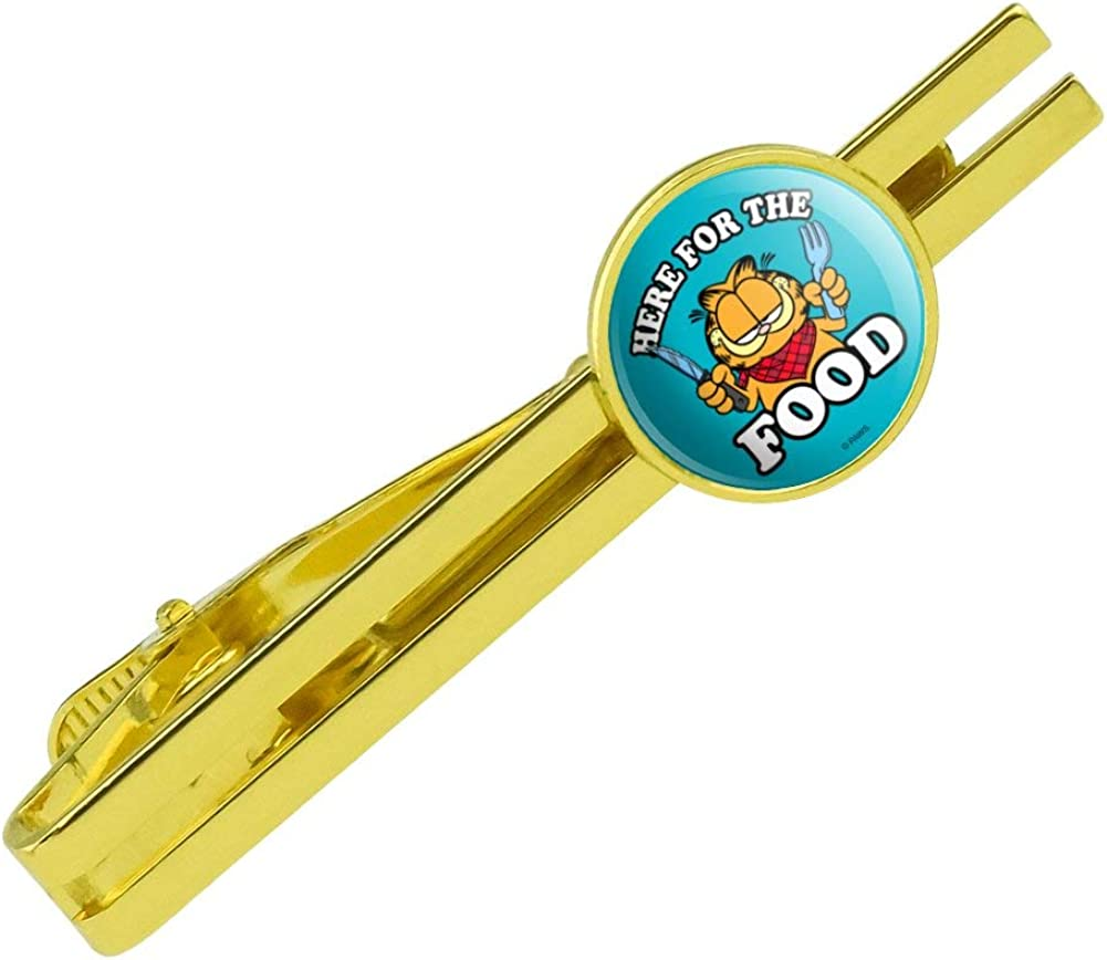 GRAPHICS & MORE Garfield Here for The Food Round Tie Bar Clip Clasp Tack Gold Color Plated