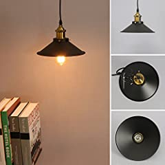 Retro Pendant Light Shade Vintage Industrial Ceiling Lighting LED Restaurant Loft Black Lamp Shade Kitchen Coffee-Shop Chandelier E27 Base #4