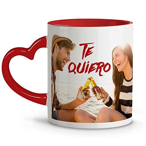 Taza Personalizada con Foto. Regalos Personalizados con Foto. Taza Personalizada Amor y día de la Madre. Taza con asa corazón Rojo