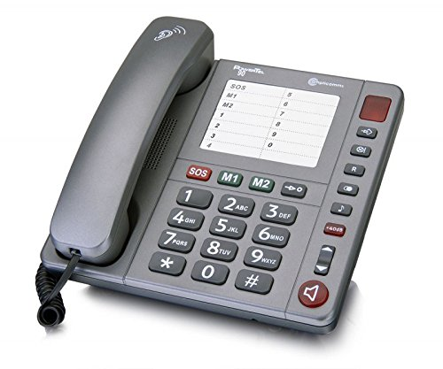 amplicomms PowerTel 90, Schnurgeb&enes Großtastentelefon zum besseren Hören & Sehen, Hörgerätekompatibel