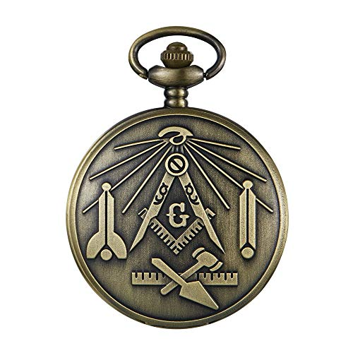 Vintage Masonic Freemasonry Design Quartz Pocket Watch with Necklace Mens Womens Best Gifts