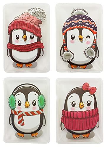MIK Funshopping Handwärmer Taschenwärmer Sets (4er-Set Colorful Penguins mit bunten Schals und Ohrenwärmern)