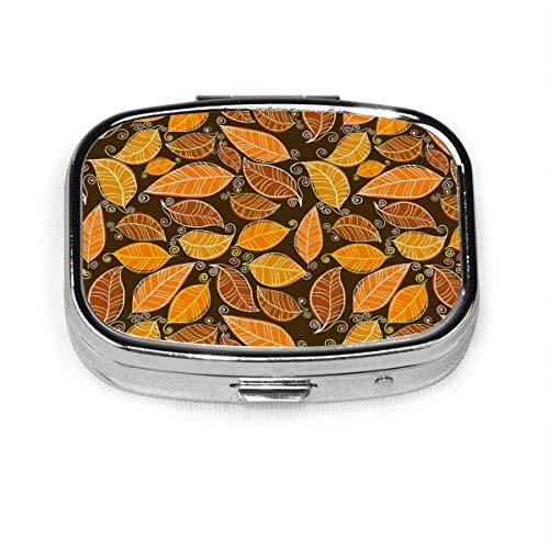 Herbstlaub Gitter benutzerdefinierte Mode Silber quadratische Pille Box Medizin Tablettenhalter Brieftasche Organizer Fall für Tasche oder Geldbörse