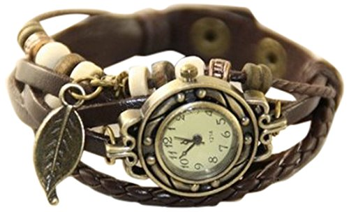 【アンティーク風 レザー ブレスレット ウォッチ リーフ チャーム付】本革 ベルト クォーツ腕時計 (ダークブラウン)