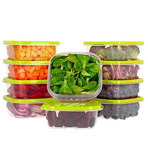 Oursson Recipientes Plastico para Alimentos Almacenaje Cocina con Tapas Verde   Set de 10 Piezas x 400 ml   Sin BPA   Tapers para Comida Hermetico   Lunch Box   Fiambrera   Organizador Frigorifico  