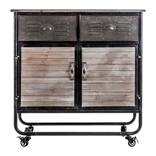 LastDeco Consola Dundalk, Hierro, Gris y Natural, 88x44.5x38 cm