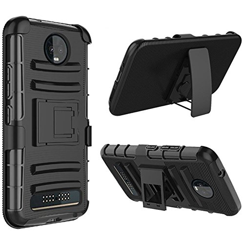 Luckiefind Compatible with Motorola Moto Z3 Play/Moto Z3 (Verizon Only), Hybrid Side Kickstand Cover Case with Holster Clip (Holster Black)