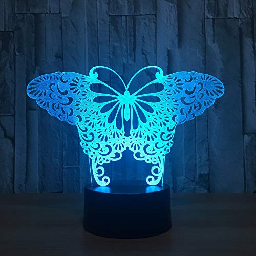 Only 1 Piece Butterfly 7 Color Change Led 3D Night Light Remote Touch Switch 3D Light Christmas Gift Toys Kids Room Led USB Kids Lamp