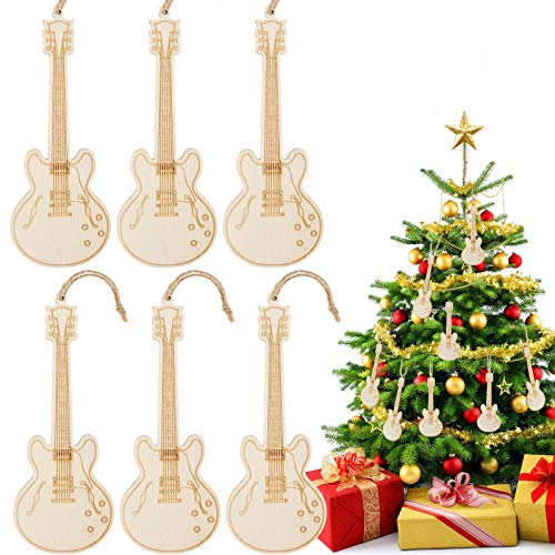 Jetec 6 Pieces Christmas Guitar Ornaments Guitar Musical Ornaments Mini Wooden Guitar Decoration Xmas Wooden Tree Ornaments for Holiday Christmas Tree Decoration