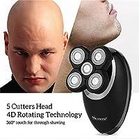 3D 3では1メンズロータリー浮動カミソリ白頭クリッパー鼻毛トリマー5ブレードヘッド電気シェーバー用USB充電式洗えます
