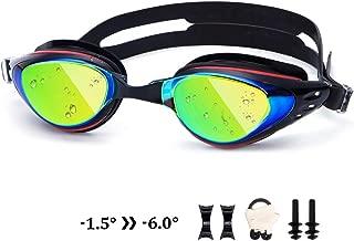 UTOBEST Nearsighted Mirrored Swim Goggles Anti Fog Myopic Optical Swimming Goggles 100% UV Protection Triathlon Swim Glasses for Adult Men Women Junior