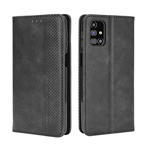 BaiFu Lederhülle für Samsung Galaxy M31s Hülle, Flip Hülle Schutzhülle Handy mit Kartenfach Stand & Magnet Funktion als Brieftasche, Tasche Cover Etui Handyhülle für Samsung Galaxy M31s, Schwarz