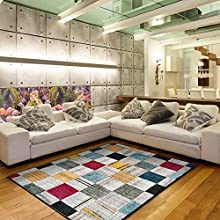 Universal Alfombra geométrica Anouk Check Multicolor, 100% Polipropileno, 160 x 230 cm