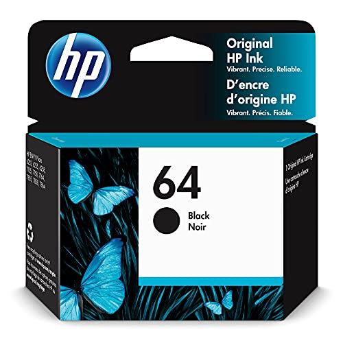 Original HP 64 Black Ink Cartridge | Works with HP ENVY Photo 6200, 7100, 7800 Series | Eligible for Instant Ink | N9J90AN