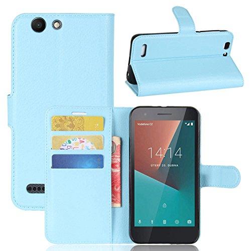 Tasche für Vodafone Smart E8 Hülle , Ycloud PU Kunstleder Ledertasche Flip Cover Wallet Case Handyhülle mit Stand Function Credit Card Slots Bookstyle Purse Design blau