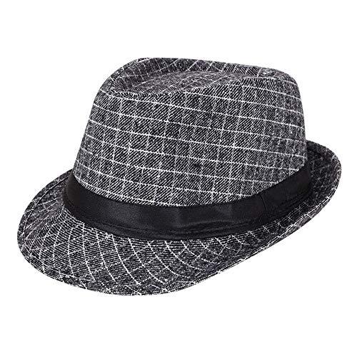 AIEOE - Sombrero Cordobés Jazz para Hombre Adulto Gorro de Copa Disfraz Trilby Vintage Caballeros para Invierno Cálido con ala Ancha de Fiesta Viaje - Gris