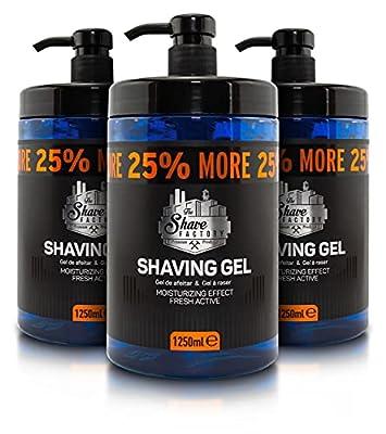 The Shave Factory Shaving Gel 25 More Free, Blue, fresh, 1250 millilitre