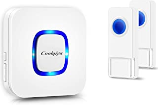 Coolqiya Wireless Doorbells Chimes for Home with 2 Remote Door Bell Buttons Waterproof and 1 Plug in Receiver, No Battery Required for Receiver 52 Ringtones