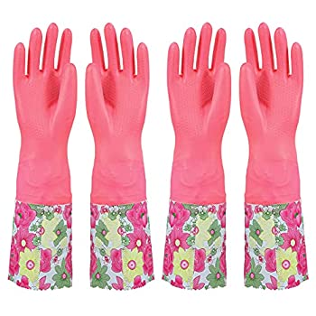 Lanzyee 2 pairs Household Gloves with Soft Fiber lining Extra Long Cuff and Vinyl Textured Grip for Women Reusable Gloves for Dishwashing Latex Free Elbow Length  16.5 Inch  Non-Slip Pink