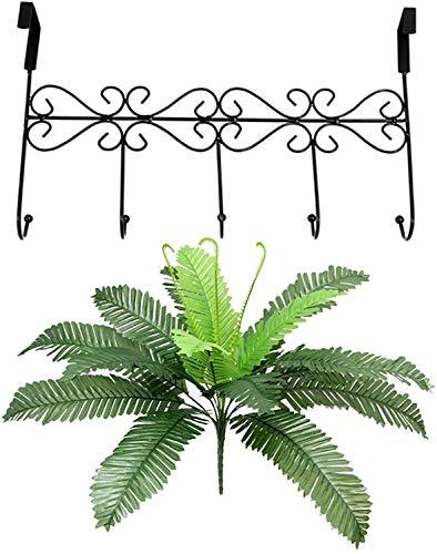 JIAJBG 5 Door Hooks Door Wardrobe Coat Rack Hook & Amp; Artificial Fern Silk Cloth Fake Plant Leaf Foliage Home Office Décor Bonsai Decoration