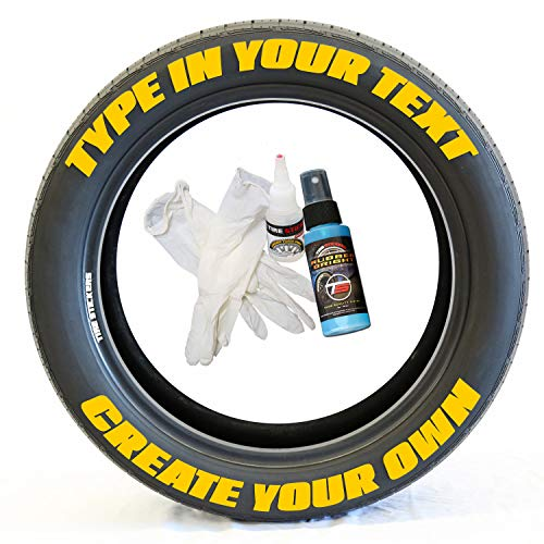 Tire Stickers - Create Your Own Custom Tire Lettering Add-On Accessory - DIY/Easy/Glue & 2oz Touch-Up Cleaner - Custom Sizing/Yellow (Pack of 8)