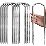 Eurmax Trampolines Stakes Wind Stake 12 Inch Heavy Duty Stake Safety Ground Anchor Galvanized Steel Wind Stakes, 8pcs-Pack(Silver)