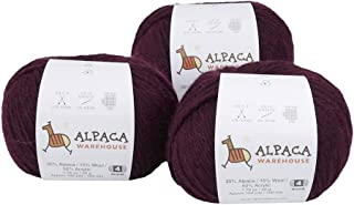 Blend Alpaca Yarn Wool Set of 3 Skeins Fingering Worsted Weight - Heavenly Soft and Perfect for Knitting and Crocheting (P...