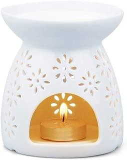 Zollefys White Ceramic Tea Light Burner, Aromatherapy Oil Burner, Wax Warmer, Tealight Holder