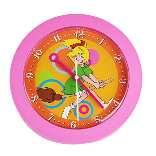 Markenlos Kinderuhr Bibi Blocksberg Quarz 22x22cm Kinderwanduhr rosa Wanduhr Kinder Uhr