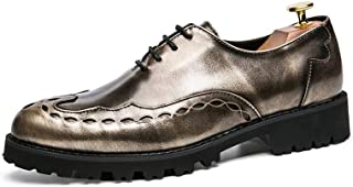 Aomoto Men's Fashion Oxford Casual Comfortable Outsole Personality Carving Retro Brogue Shoes