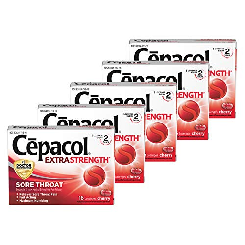 Cepacol Extra Strength Sore Throat Lozenges, Powerful Symptom Relief, Oral Pain Reliever, Cherry Flavor with a Burst of Cool Menthol, 16 Lozenges (Pack of 5)