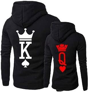 King Queen Matching Couple Pullover Hoodie Set Men Women Sweatshirts