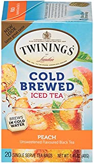 Twinings of London Peach Cold Brew Iced Tea Bags, 20 Count (Pack of 6)