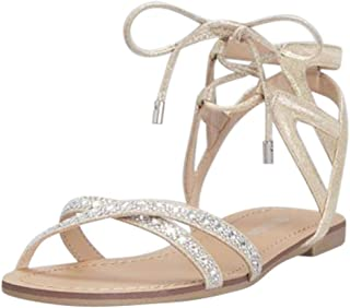 Ankle-Tie Jeweled Crisscross Sandals Style RAE