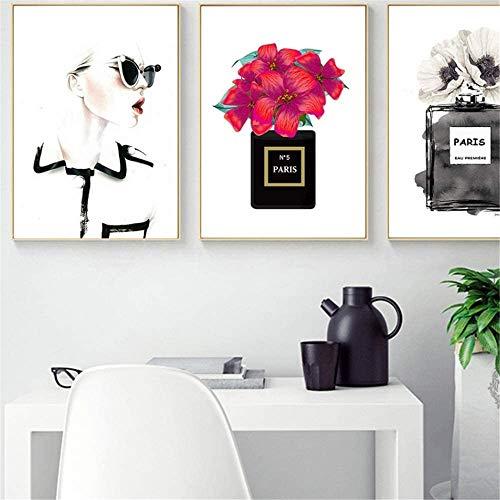Surfilter Print auf Leinwand Parfüm COCO Pfingstrose Blume Wandkunst Leinwand Malerei Nordic Poster Drucke Bilder Wanddekoration 23.6ABC 22 rdquo; x 31.4ABC 22 rdquo; (60x80cm) x3 No Frame