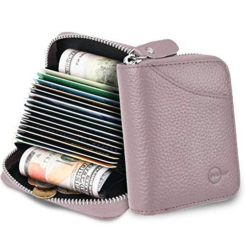 MUCO Tarjeteros para Tarjetas de Credito, RFID Wallet Pasaporte, Piel Auténtica, Titular de la Monederos con Cremallera (Morado)