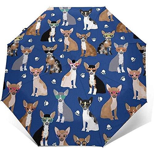 Chihuahua Sonnenbrille Sommer Hund Reise Regenschirm Sonnenschirm-Leichter winddichter Sonnenschutz Regenschirm-Auto Öffnen und Schließen Knopf