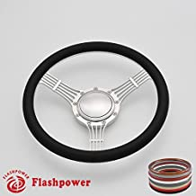 Flashpower 14'' Billet Banjo Half Wrap 9 Bolts Steering Wheel with 2'' Dish and Horn Button (Black)