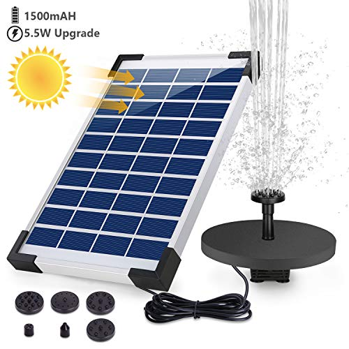 AISITIN Solar Springbrunnen 5.5W Eingebaute 1500mAh Batterie Solar Teichpumpe Wasserpumpe Solar Schwimmender Fontäne Pumpe mit 6 Fontänenstile für...